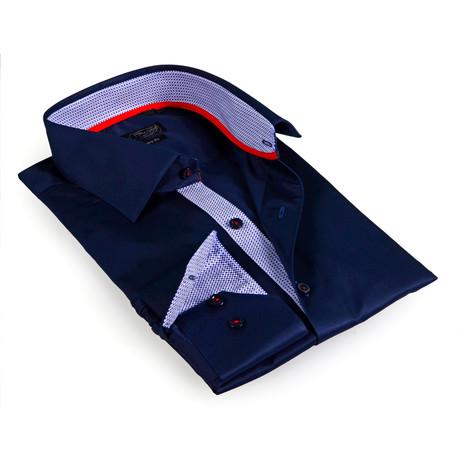 Textured Collar Solid Button-Up Shirt // Dark Navy