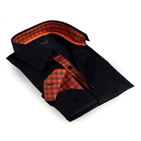 Gingham Collar Solid Button-Up Shirt // Black (S)