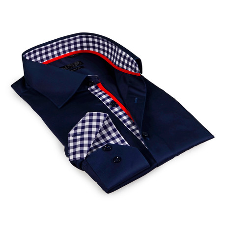 Gingham Collar Solid Button-Up Shirt // Navy (S)