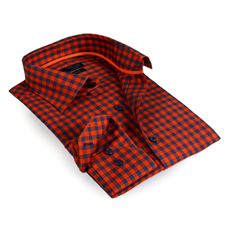 Gingham Button-Up Shirt // Orange (S)