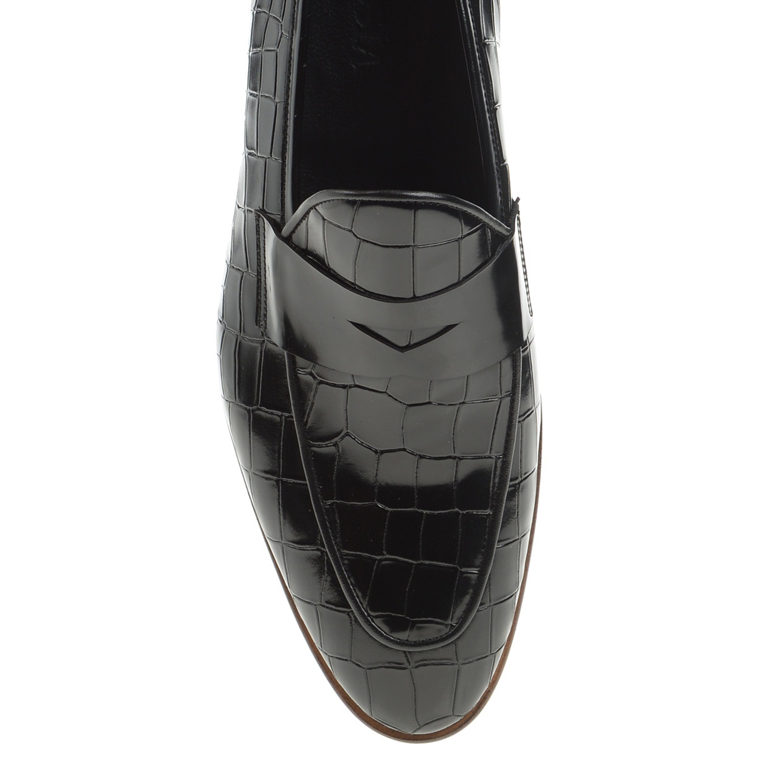 Pointed Crocodile Penny Loafer // Black (Euro: 40 ...