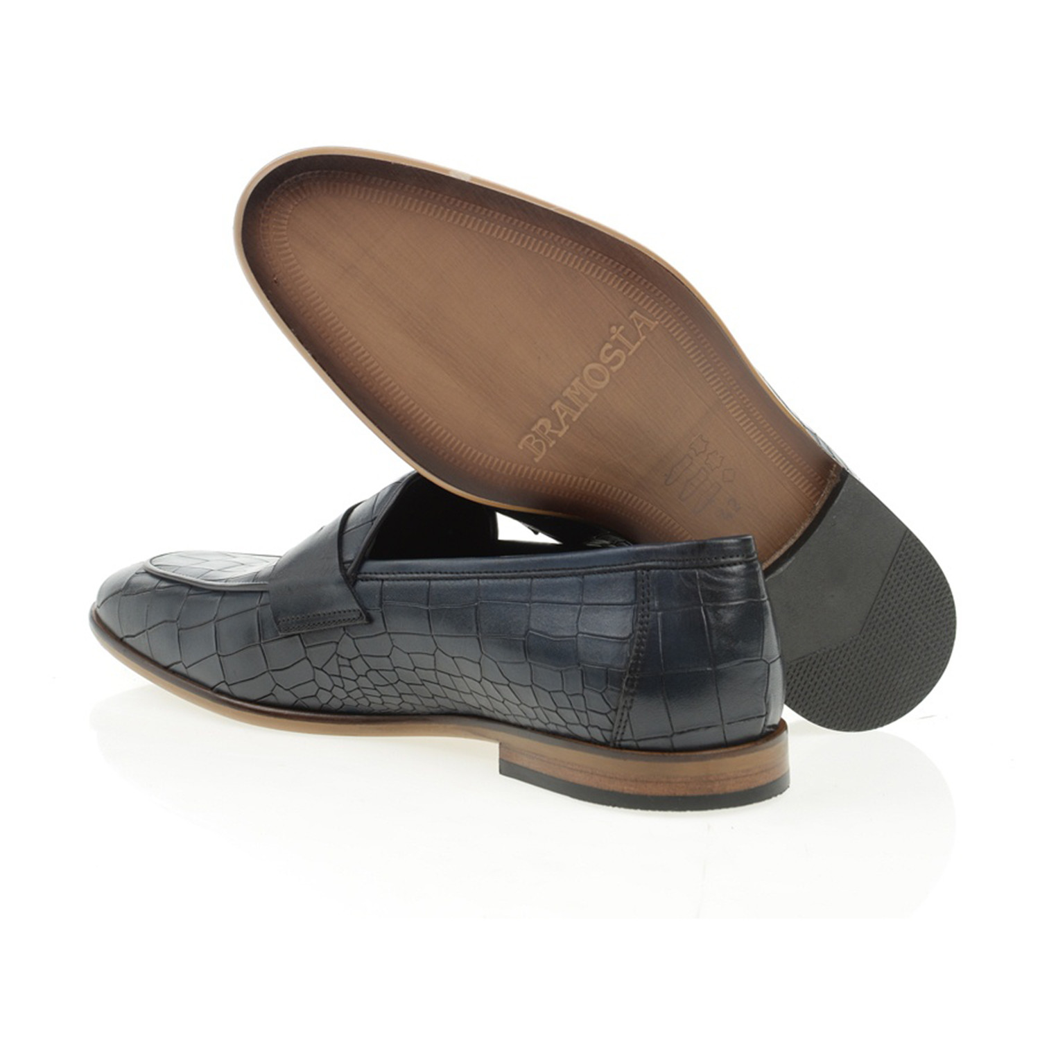 Pointed Crocodile Penny Loafer // Navy Blue (Euro: 40 ...