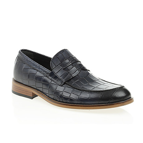 Crocodile Penny Loafer // Navy Blue