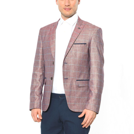 Checkered Blazer // Burgundy + Grey