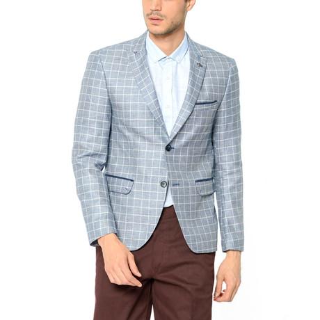 Micro Checkered Blazer // Dark Blue