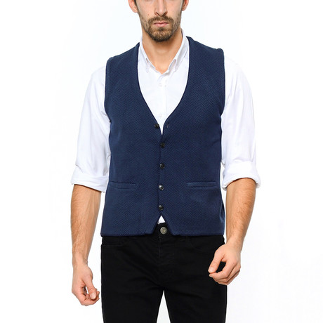 Textured Tricot Vest // Dark Blue (Small)
