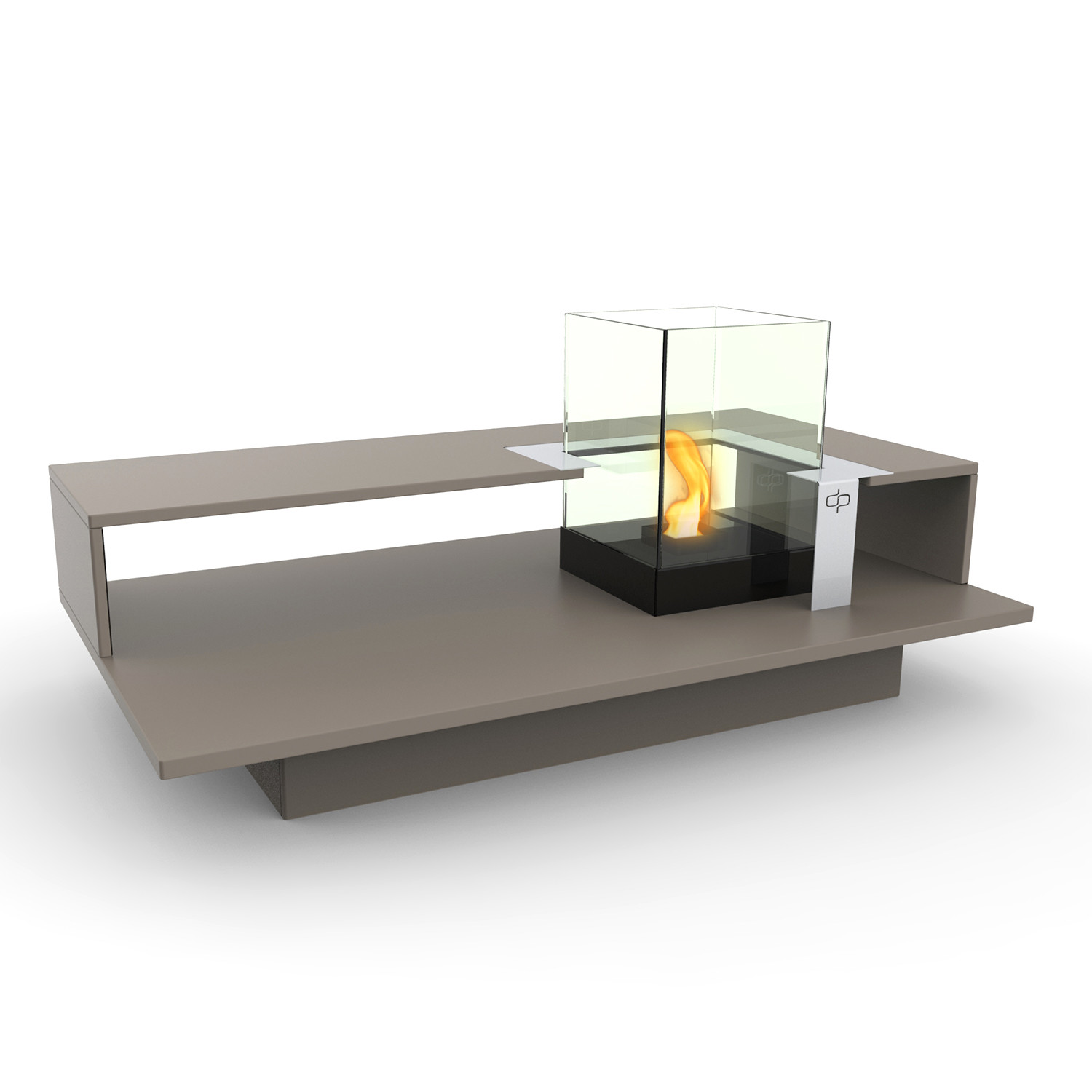 Level fire coffee table black textured decorpro for 3 level coffee table