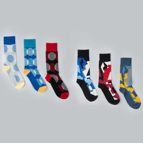 Colossal Fractal Crew Socks // Pack of 6