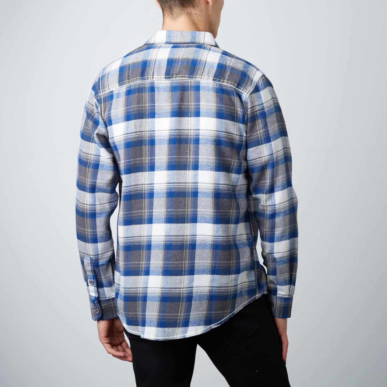 Long sleeve plaid flannel shirt blue l burnside for Long plaid flannel shirt
