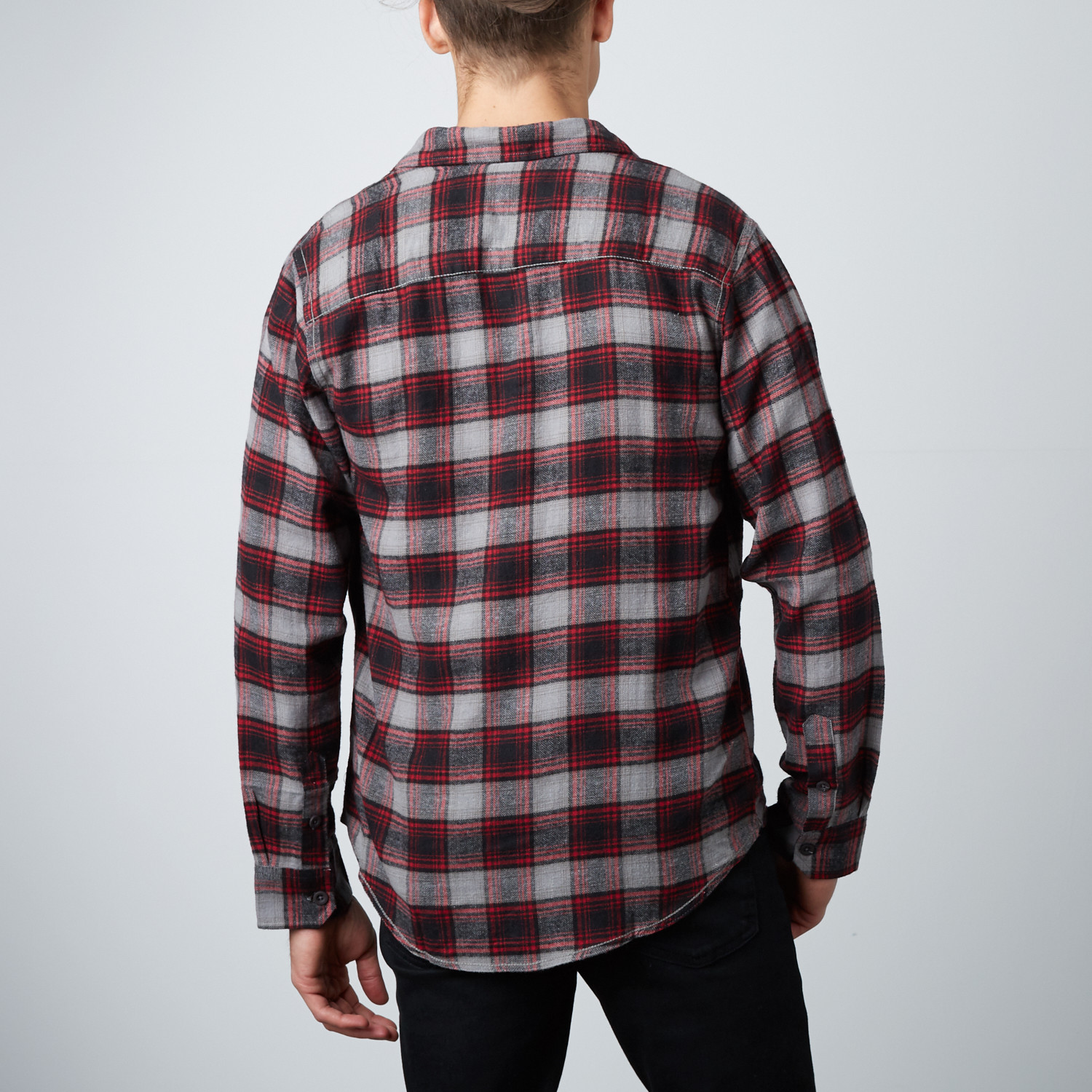 Long sleeve plaid flannel shirt cement m burnside for Flannel checked long sleeve shirt