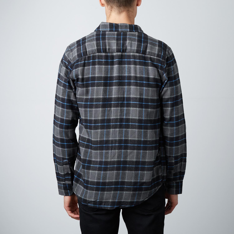 Long sleeve plaid flannel shirt black xl burnside for Black watch plaid flannel shirt