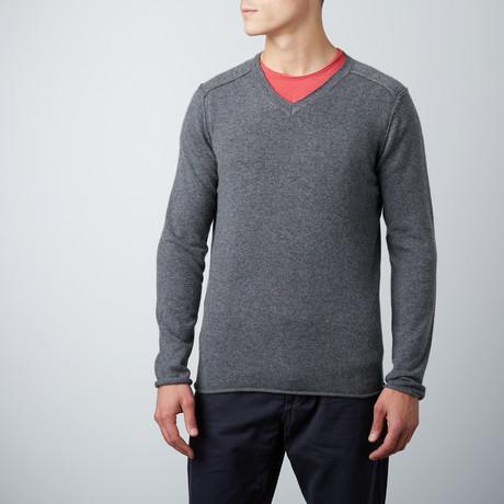 Cashmere V-Neck Shirt // Charcoal (M)
