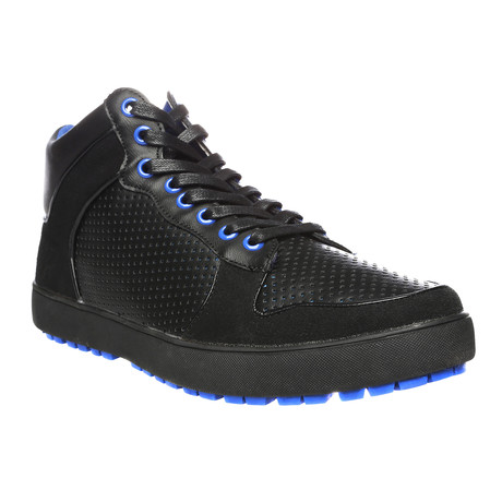 Mika Perforated High-Top Sneaker // Black + Royal Blue