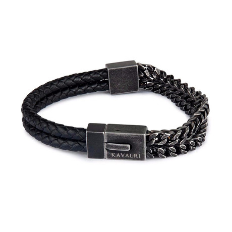 Double Armour Leather + Steel Bracelet // Aged Silver