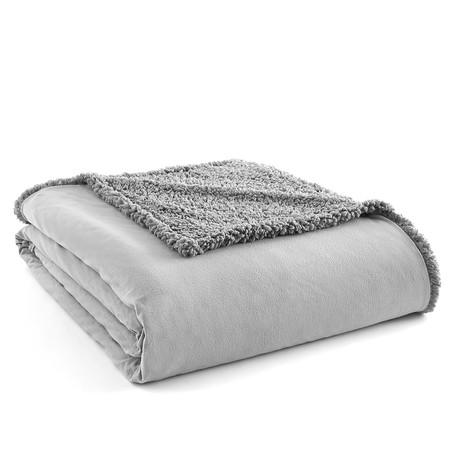 Micro Flannel Reversing Sherpa Blanket // Graystone (Twin)