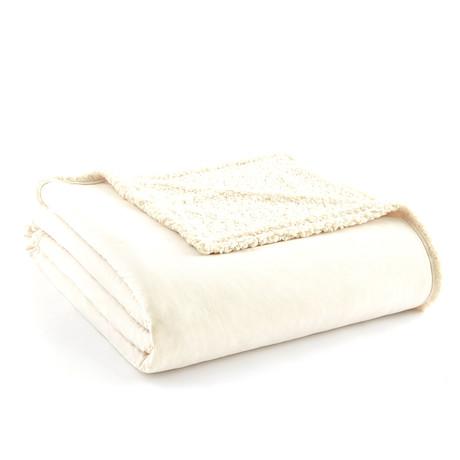 Micro Flannel Reversing Sherpa Blanket // Ivory (Twin)