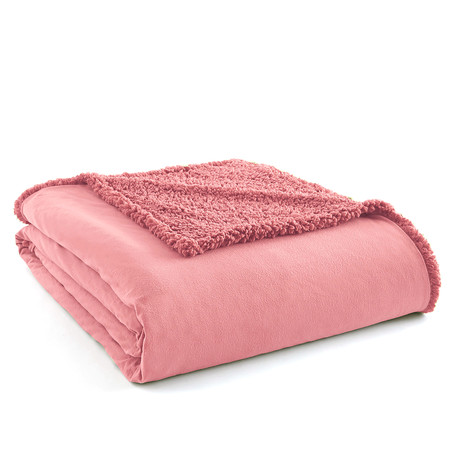 Micro Flannel Reversing Sherpa Blanket // Frosted Rose (Twin)