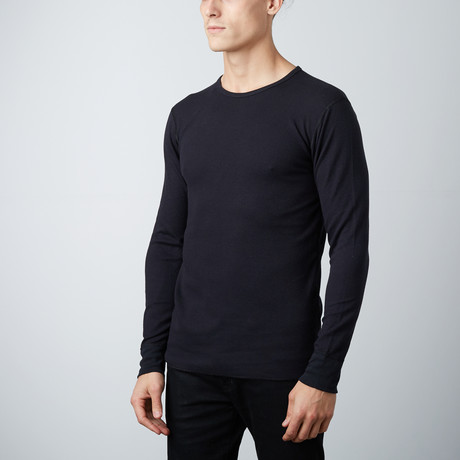 Ultra Soft Long Sleeve Waffle Thermal Crew Neck // Black (S)