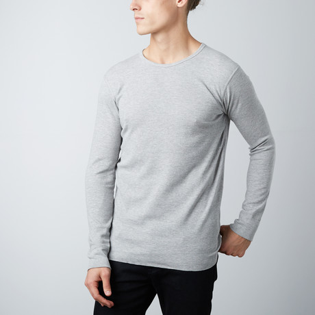 Ultra Soft Long Sleeve Waffle Thermal Crew Neck // Heather Grey (S)