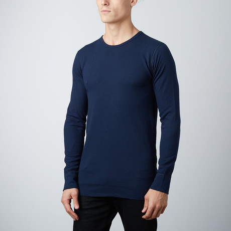 Ultra Soft Long Sleeve Waffle Thermal Crew Neck // Midnight Navy (S)