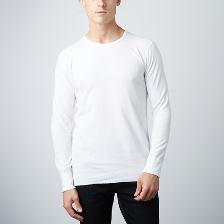 Ultra Soft Long Sleeve Waffle Thermal Crew Neck // White (S)