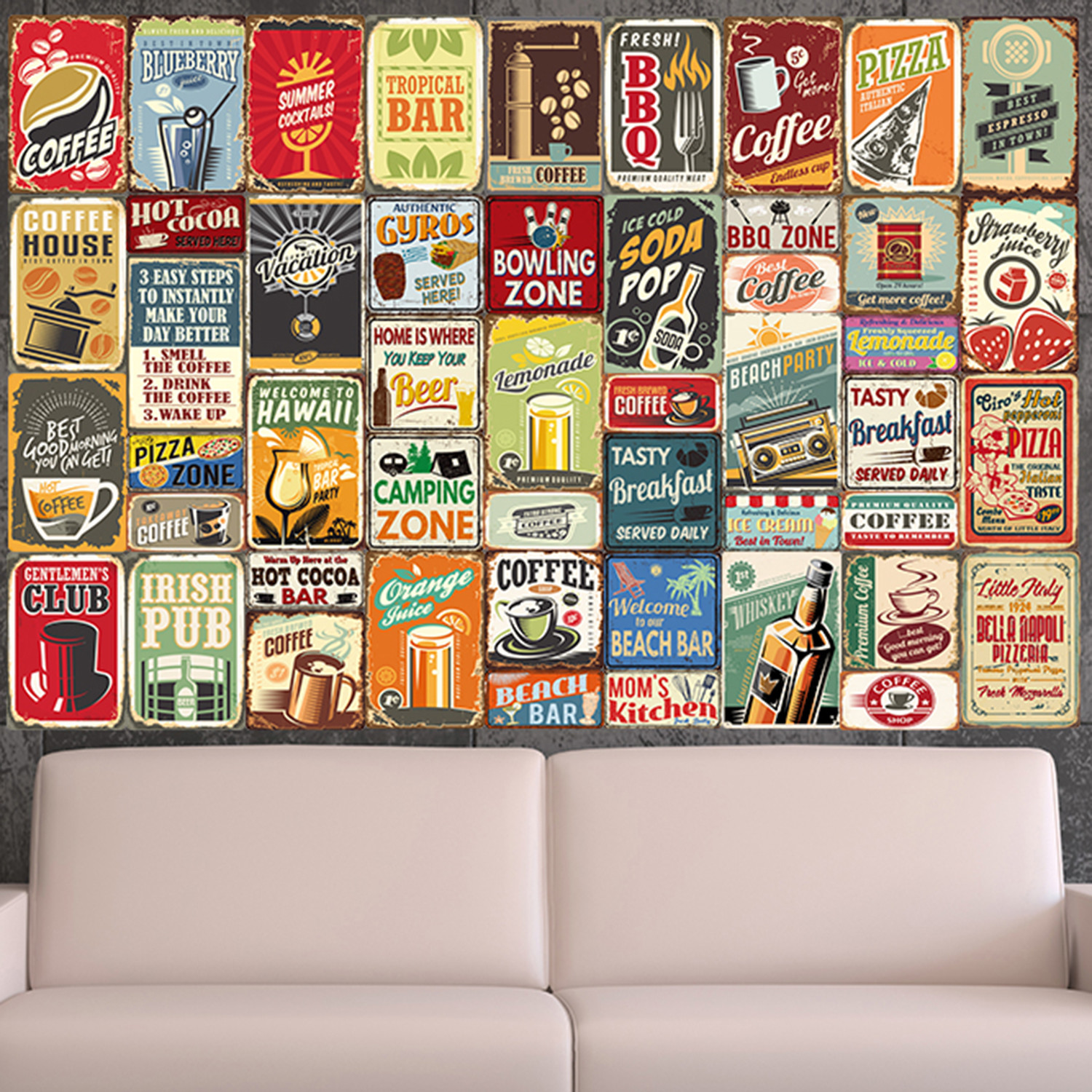 Party metal signs collage mural walplus touch of modern for Mural collage