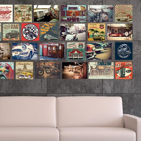 Vintage Vehicles Collage Mural