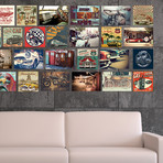 Vintage Vehicles Collage Mural