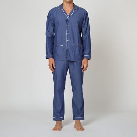 Solid Poplin Pajama Set // Blue