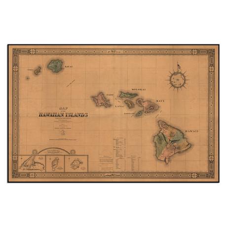"""Map of the Hawaiian Islands, 1876 (13.75""""W x 9""""H)"""