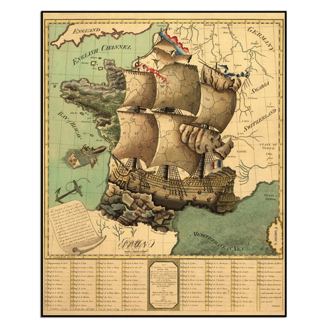 """French Map (10""""W x 12.5""""H)"""