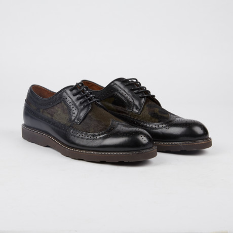 Marlowe Pony Wing-Tip Derby // Black + Army (US: 7)