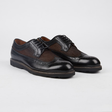 Marlowe Pony Wing-Tip Derby // Black + Brown (US: 7)