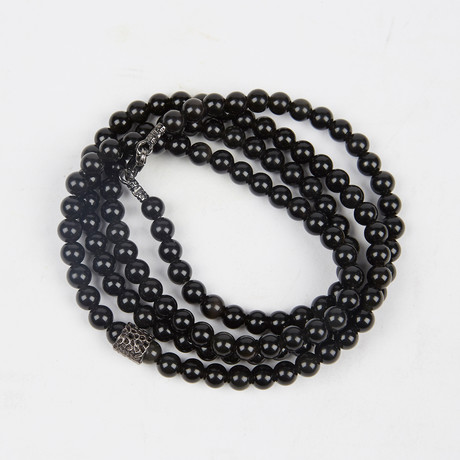 Healing Stone 2-In-1 Necklace + Wrap Bracelet // Black Obsidian (S)