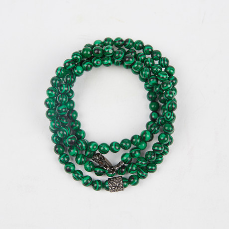 Healing Stone 2-In-1 Necklace + Wrap Bracelet // Malachite (S)
