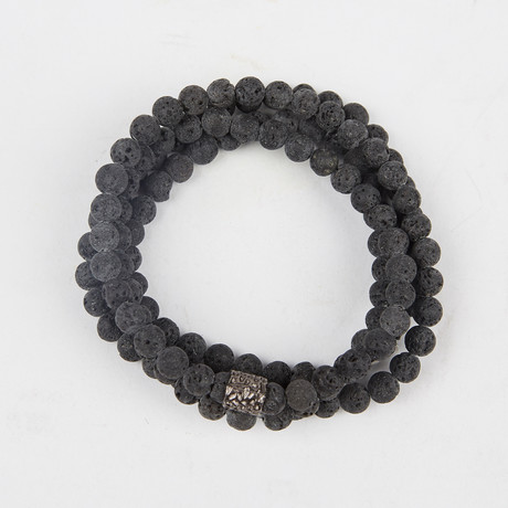 Healing Stone 2-In-1 Necklace + Wrap Bracelet // Lava Rock (S)