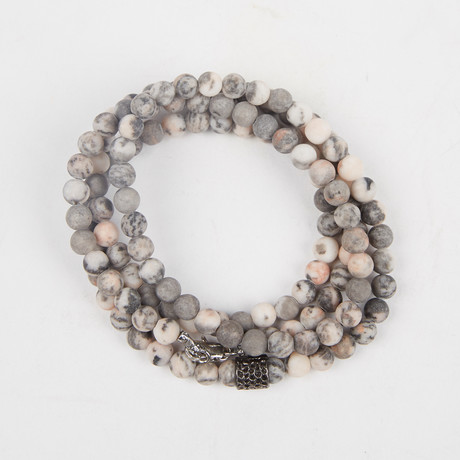 Healing Stone 2-In-1 Necklace + Wrap Bracelet // Zebra Jasper (S)