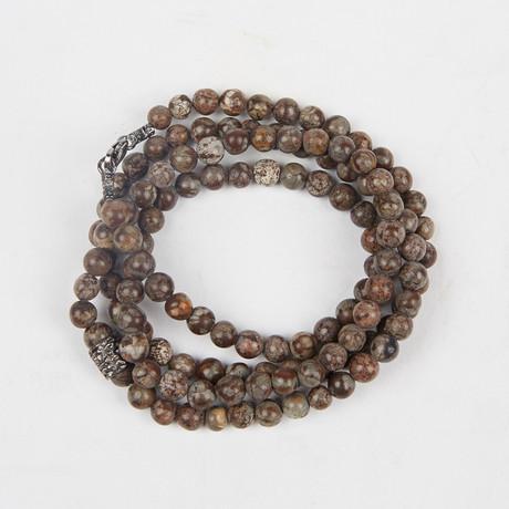 Healing Stone 2-In-1 Necklace + Wrap Bracelet // Snowflake Obsidian