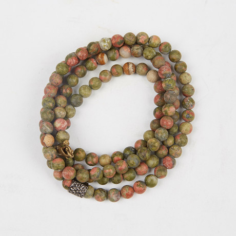 Healing Stone 2-In-1 Necklace + Wrap Bracelet // Unakite