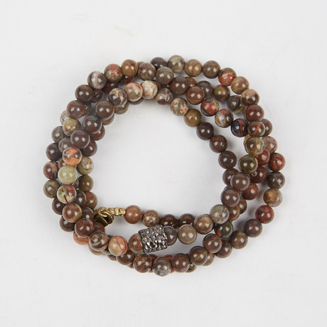 Healing Stone 2-In-1 Necklace + Wrap Bracelet // Flower Agate (S)