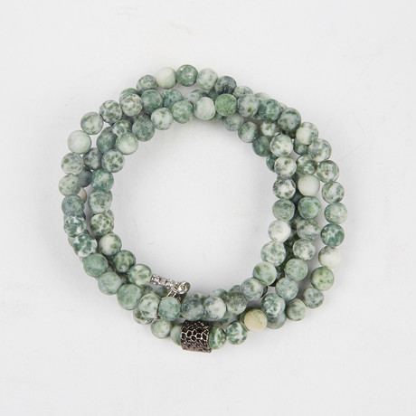 Healing Stone 2-In-1 Necklace + Wrap Bracelet // Green Spot Stone (S)