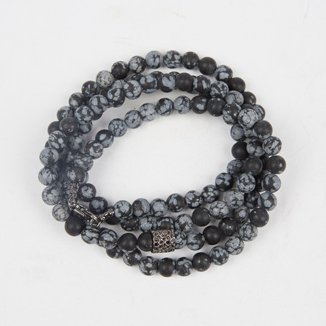 Healing Stone 2-In-1 Necklace + Wrap Bracelet // Frosted Snowflake Obsidian (S)