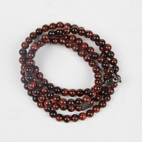 Healing Stone 2-In-1 Necklace + Wrap Bracelet // Red Tiger's Eye