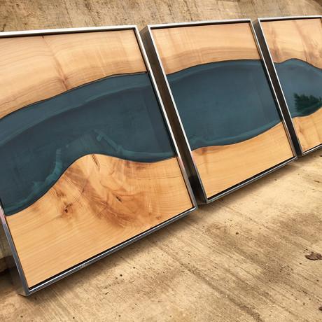 River Series Triptych // Maple + Blue Glass // Satin Grey Frame