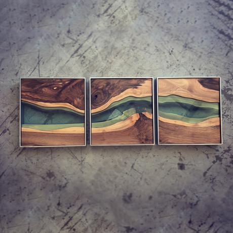 River Series Triptych // Black Walnut + Green Glass // Satin Grey Frame