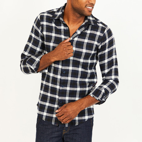 Corey Button-Up Shirt // Navy + White (S)