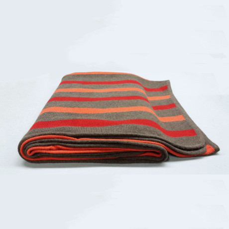 Cashmere Blend Throw // 3 Color Stripes (Sable Brown, Cherry Red)