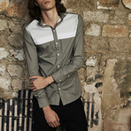Long Sleeved Stripe Shirt // Gray (S)