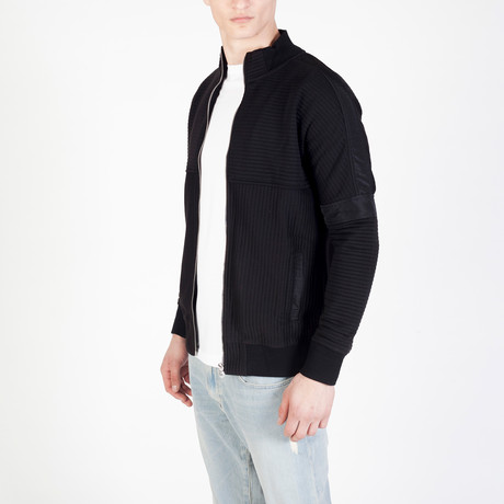 Zip Ribbed Cardigan // Black (S)