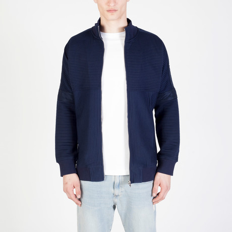 Zip Ribbed Cardigan // Navy (S)